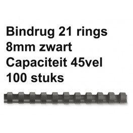 Leitz Plastic Bindruggen 21-rings 8 mm  Zwart 100st.