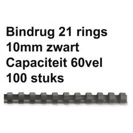 Leitz Plastic Bindruggen 21-rings 10 mm  Zwart 100st.